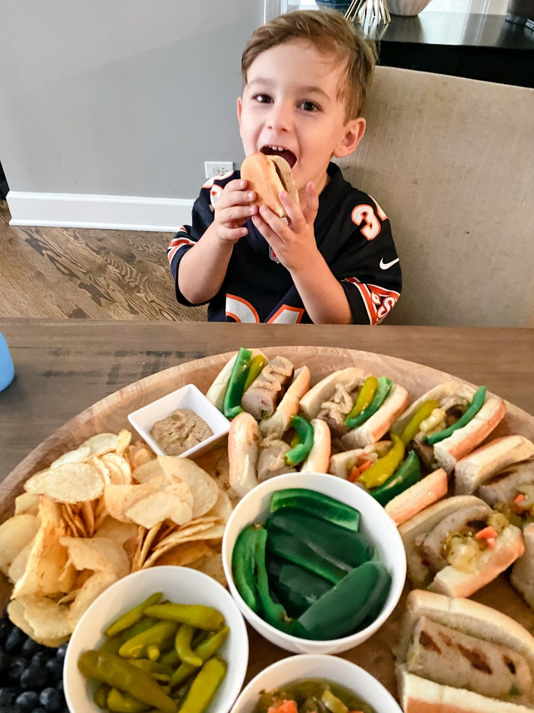 A kid friendly snack board easy to put together with Al Fresco Chicken Sausage
