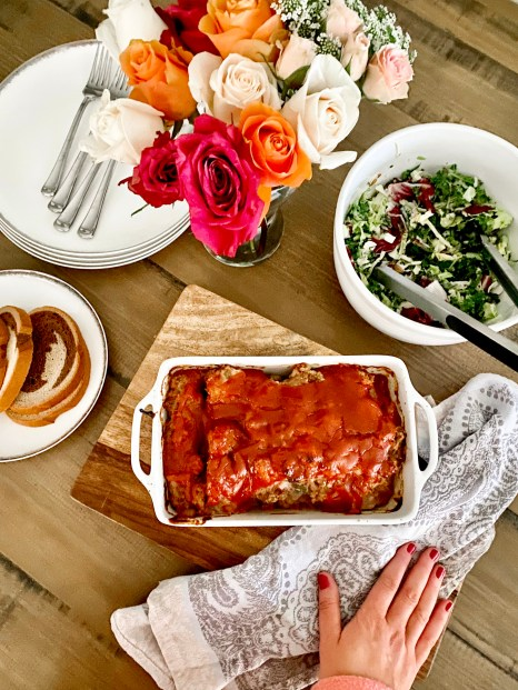 The meatloaf is one of my favorite meals. I used Sumner Point Beef which is an Illinois Farm that uses sustainable farming practices.