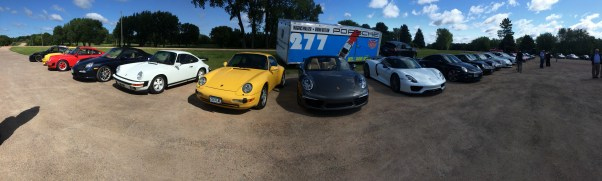 A Pack of Porsches celebrating the new Porsche Minneapolis dealer