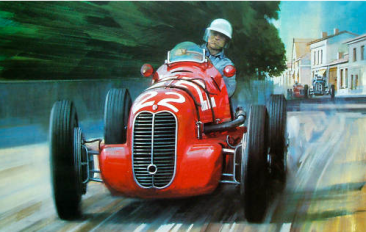 Reggie Tongue at the wheel of a Maserati 4CL by Michael Turner