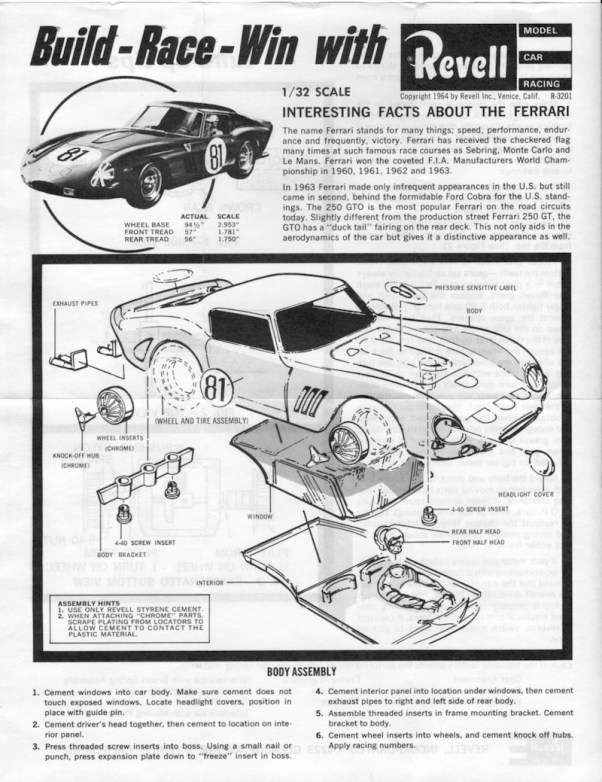 Revell Ferrari GTO Assembly Instructions