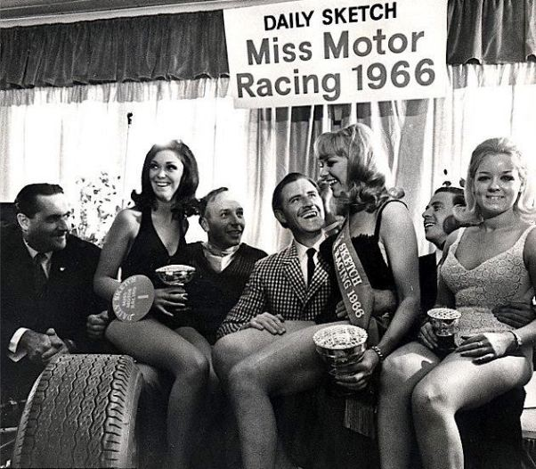 Brabham, Surtees, Hill, and Clark at the 1966 Miss Motor pageant