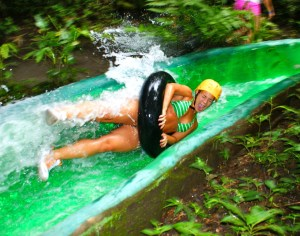 Rainforest water slide in Costa Rica!