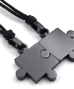 Couple Pendants 2 Pcs Puzzle Style