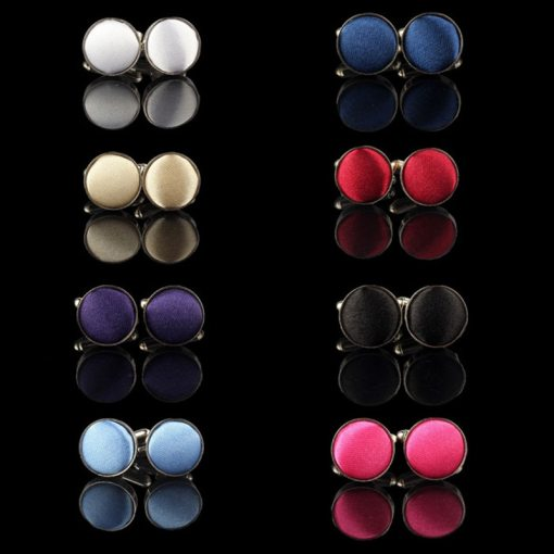 Dress Round Cloth Cufflinks