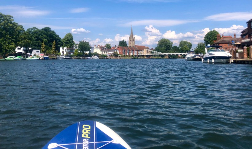 From the SUP, looking east towards Marlow on the River Thames, with boats at anchor