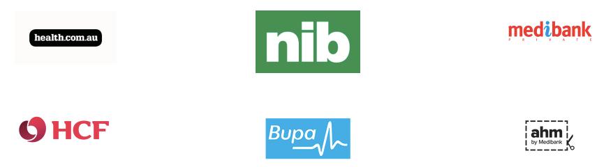 Burwood Chiropractor Health fund acceptance - health.com.au logo, nib logo, Medibank logo, HCF logo, bupa logo, aha logo