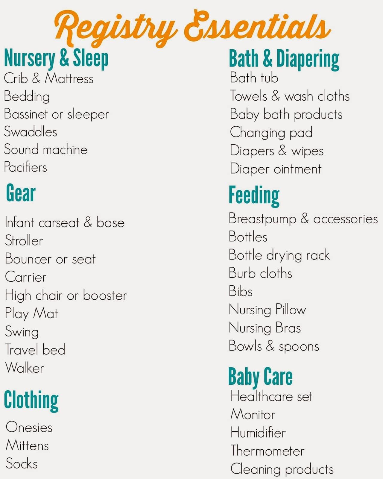 baby registry template