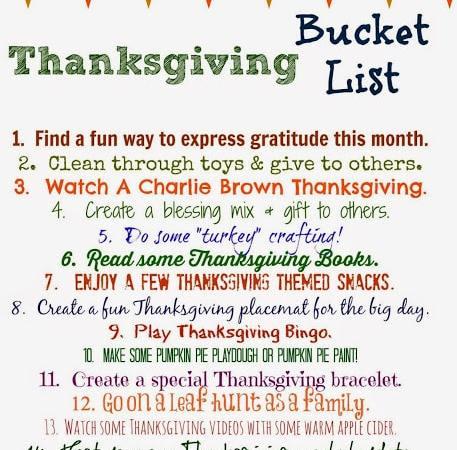 Thanksgiving Bucket List (Free Printable)
