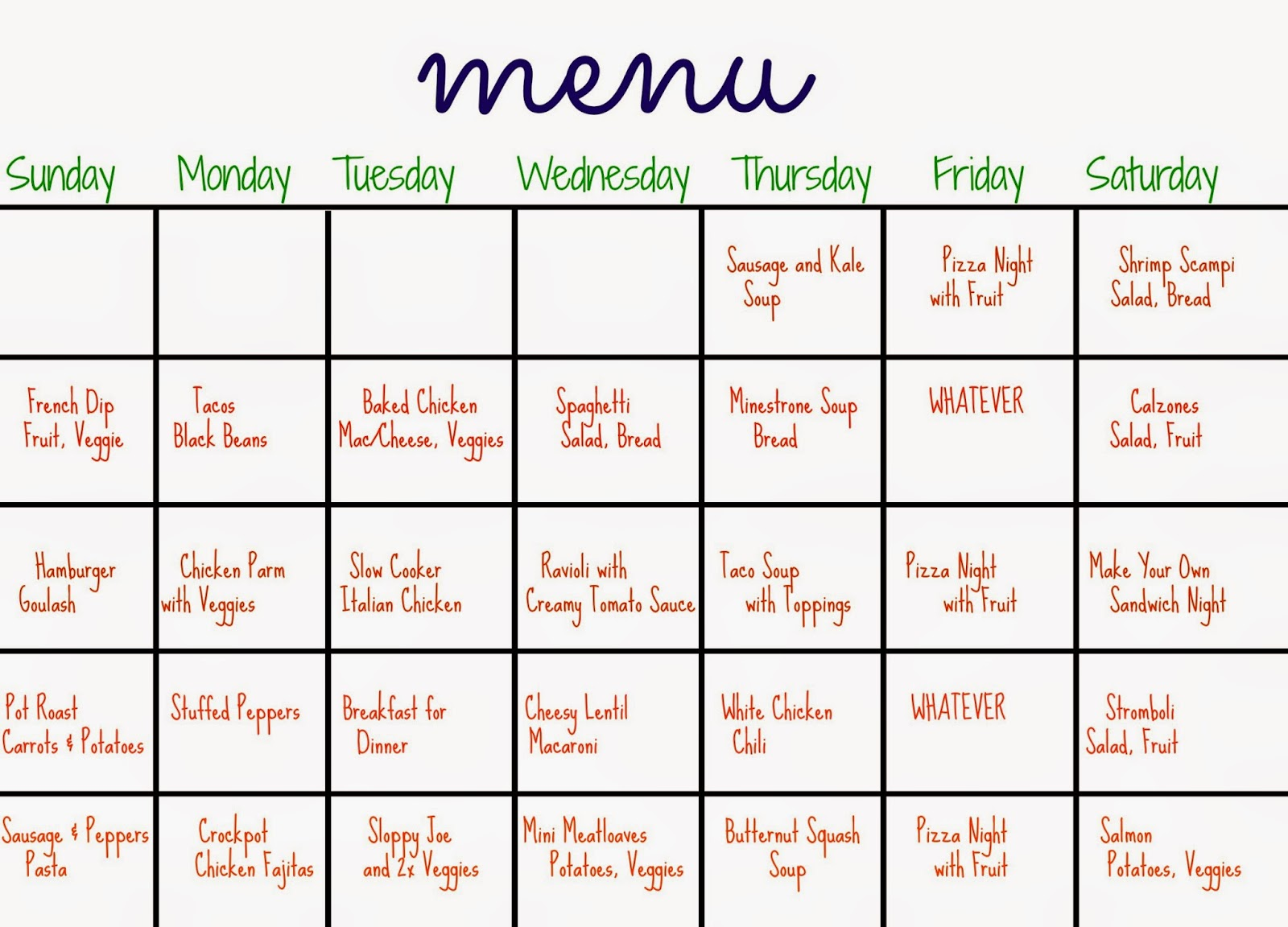 31 Days Of Dinners A Menu Plan For The Whole Month