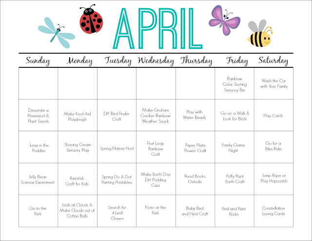 April Printable Activity Calendar for Kids || The Chirping Moms