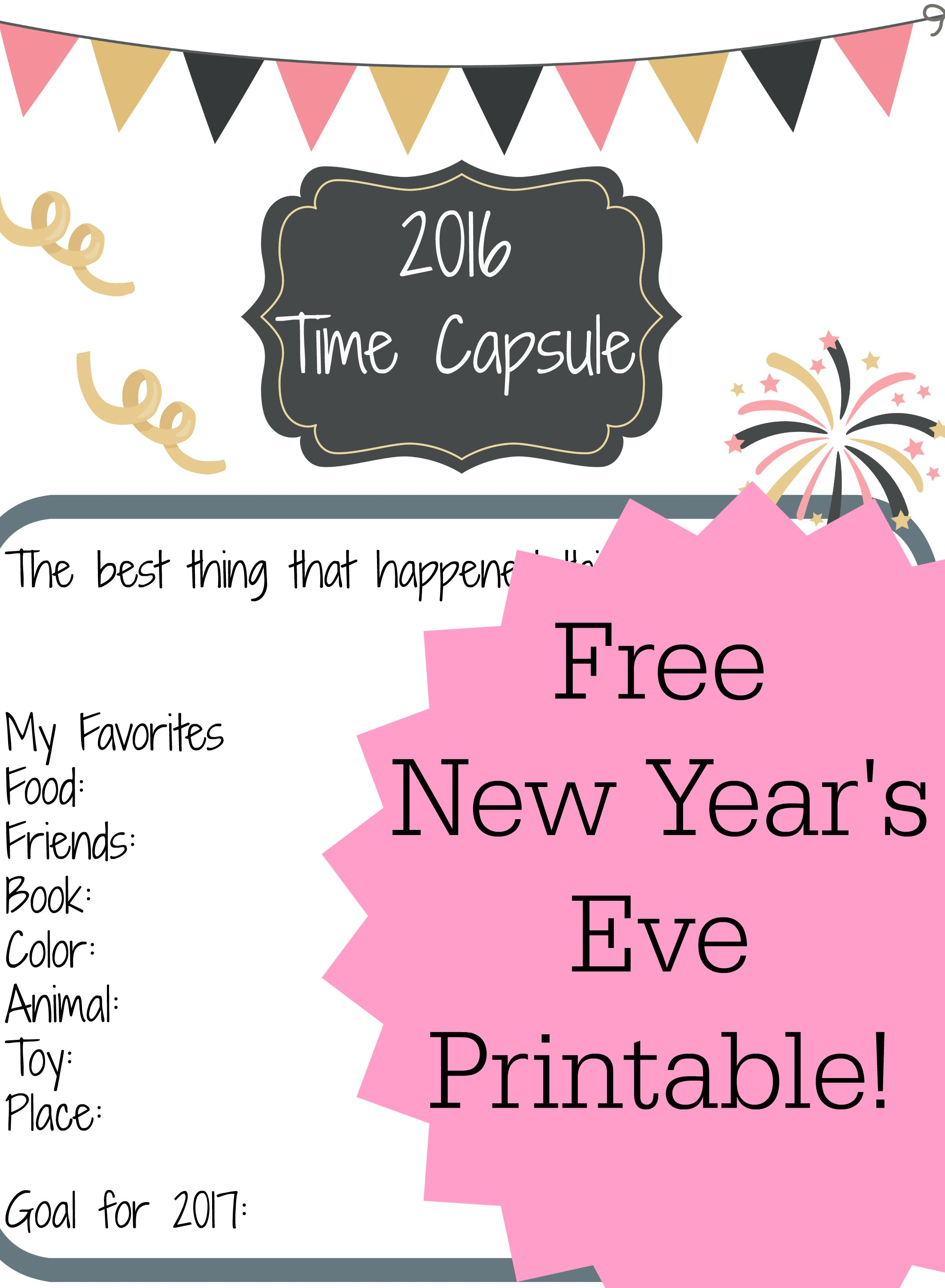 New Year S Eve Activity For Kids Free Printable Time Capsule