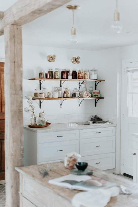 Open Shelves in French Cottage Kitchen