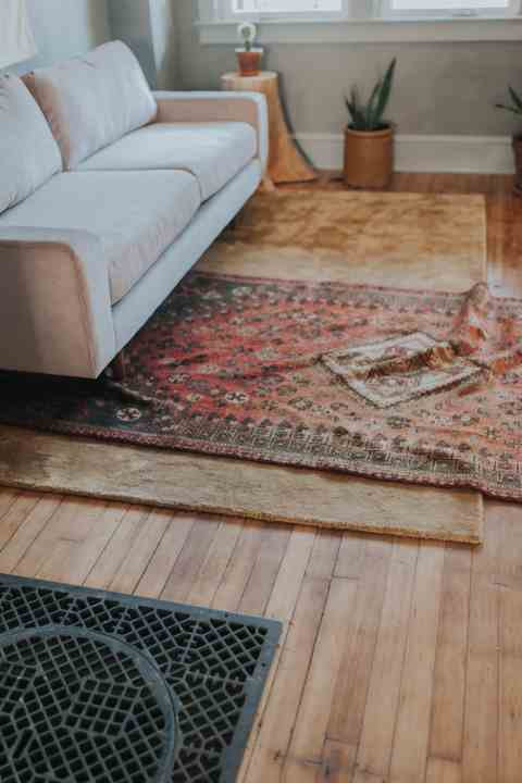 Persian rug in lime washed room renovation in Lancaster