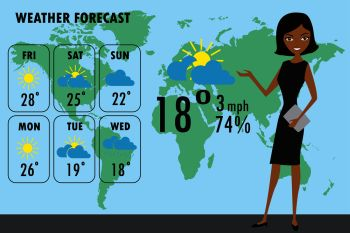 African american woman TV weather reporter at work