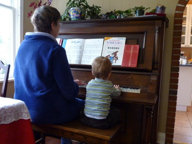 Playing the piano with Granny.