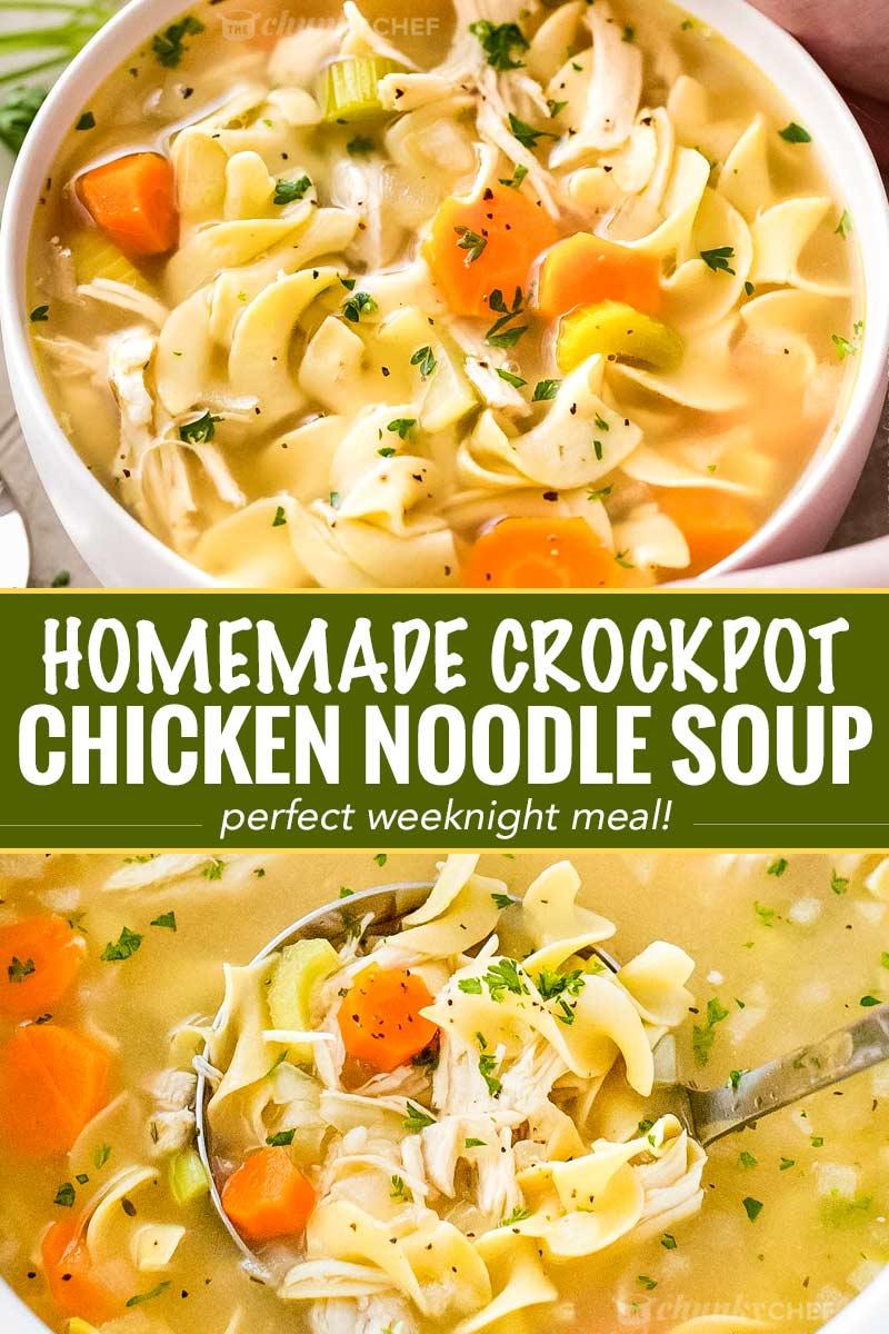 Crockpot Chicken Campbells Soup Recipes : crockpot, chicken, campbells, recipes, Homemade, Crockpot, Chicken, Noodle, Chunky