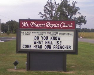 Church Notice of the Year: Do you know what hell is? Come hear our preacher