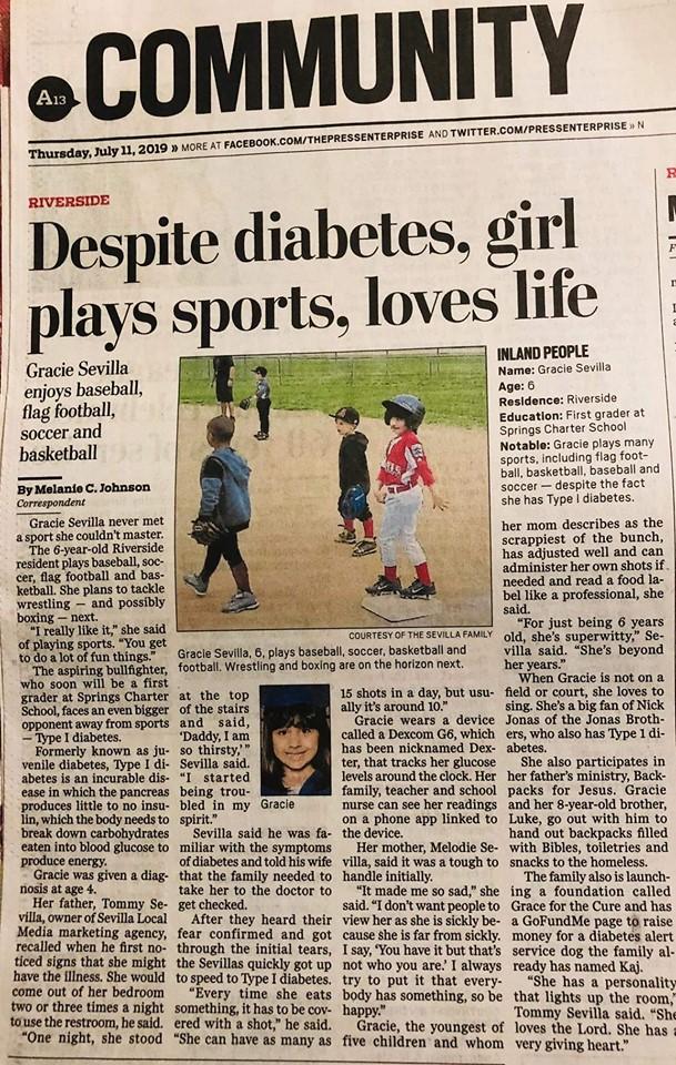 gracie sevilla type 1 diabetes awareness