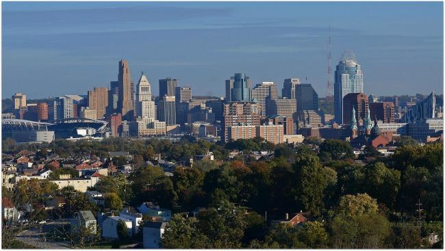 Skyline Along the Ohio River at Cincinnati!