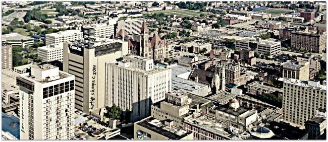 Birds eye view of downtown Cincinnati