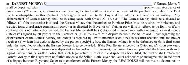 Earnest Money real estate