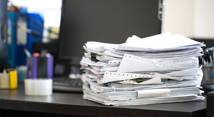 photo of a stack of paperwork