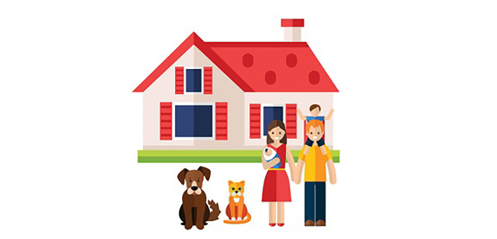 Cartoon picture of family in front of home