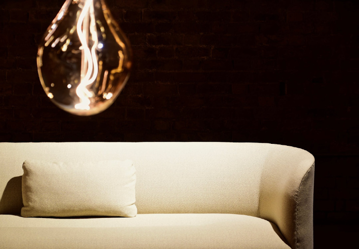 photo of light fixture over sofa