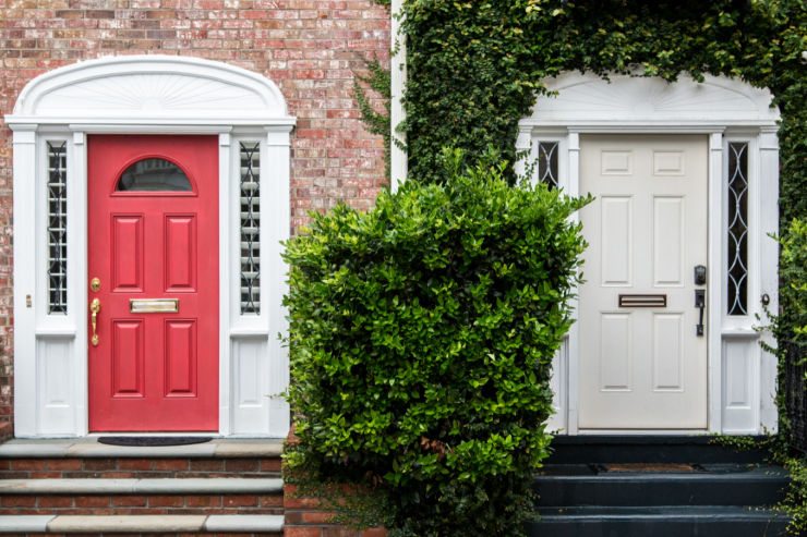 Photo of colorful front doors