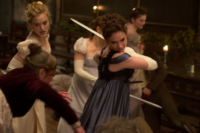 Lily James (center) and Bella Heathcote (left) in Screen Gems' PRIDE AND PREJUDICE AND ZOMBIES.