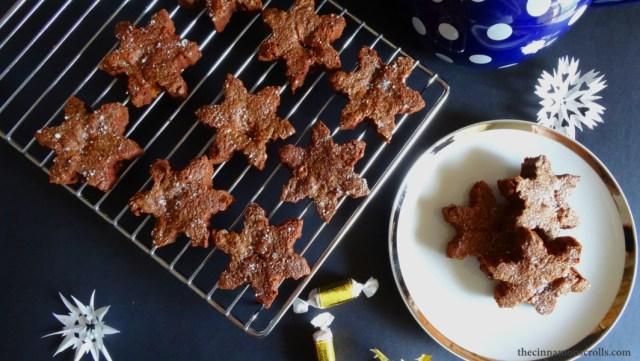 Caramel Brownie Snowflakes with Sea Salt