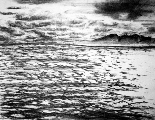 Waves and islands 1, charcoal on paper in original color