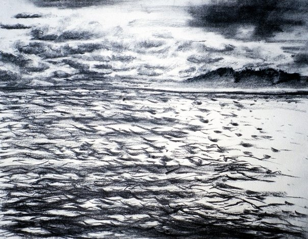 Waves and islands 2, charcoal on paper in black and white