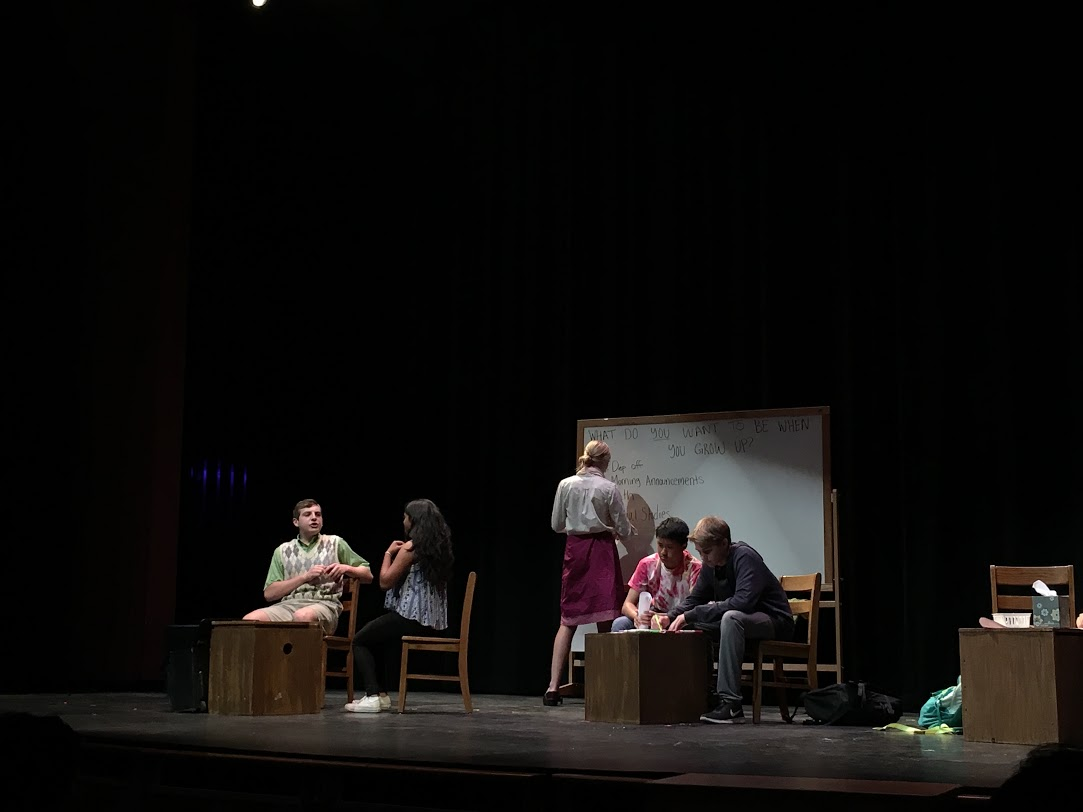 Students perform in the play Detective Axal Atkinson and the Sixth Grade Thief.