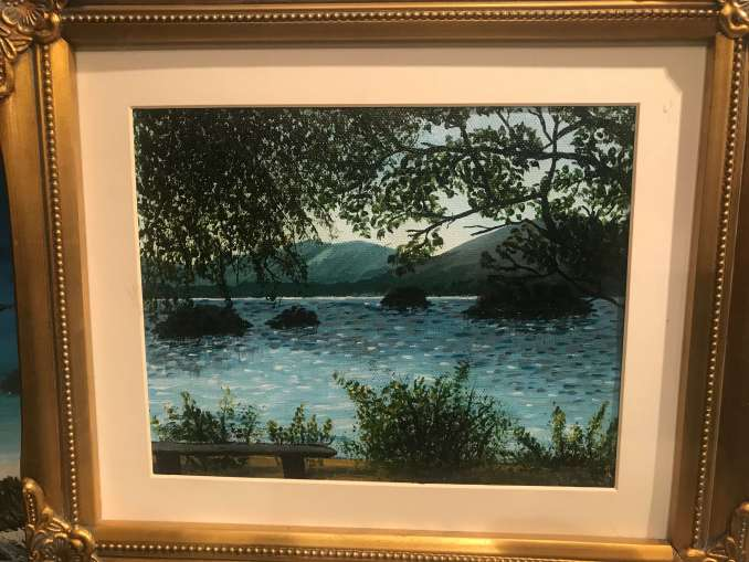 Ruth Mattew Dodd landscape painting. Photo: Akinshilo Ayomide