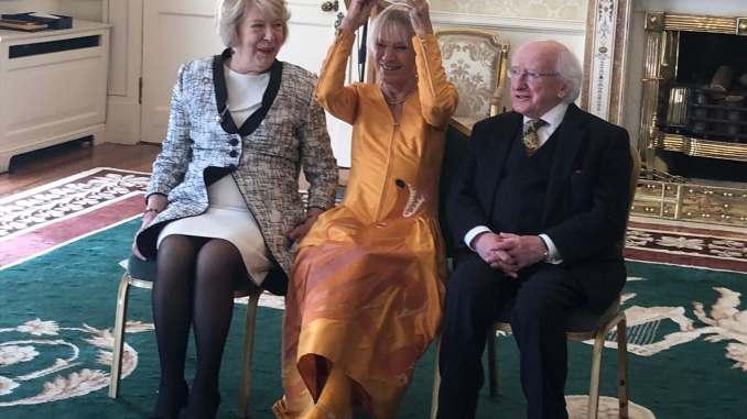 Pauline Bewick with President Michael D. Higgins and Sabina Higgins