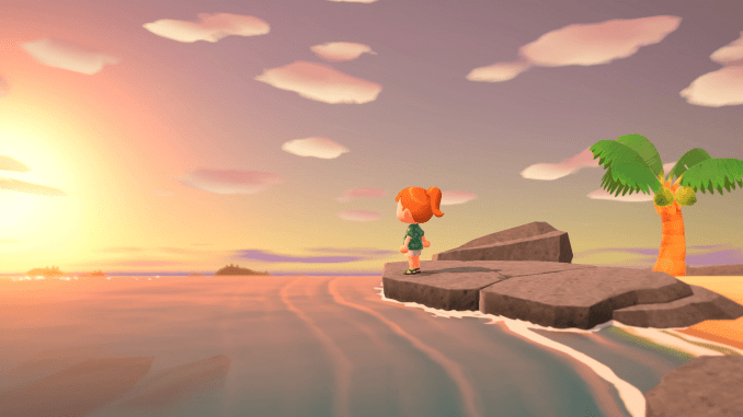 Character watching the sunset in the game Animal Crossing New Horizon