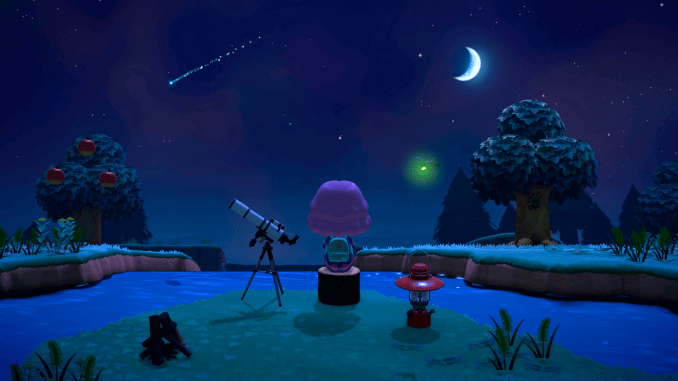 Character sitting next to telescope in a nightscene in the game Animal Crossing New Horizons