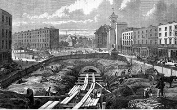 Construction of the Metropolitan Railway, the world's first underground railway. Illustration shows the trench and partially completed cut and cover tunnel close to Kings Cross station, London. Illustraion published in The Illustrated London News, February 1861.