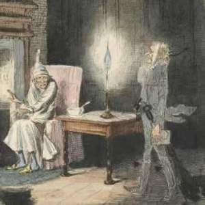 Illustration from the original publication of A Christmas Carol showing Ebenezer Scrooge being visited by the ghost of his former business partner, Jacob Marley.