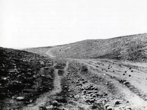 Roger Fenton's image of the Valley of the Shadow of Death where the Charge of the Light Brigade took place in 1855.