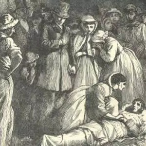 Illustration from a later edition of Hard Times showing Stephen Blackpool being cared for after his fall into a mine-shaft.