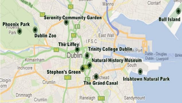 Locations covered by audio guide. Map courtesy of Trinity College Dublin.