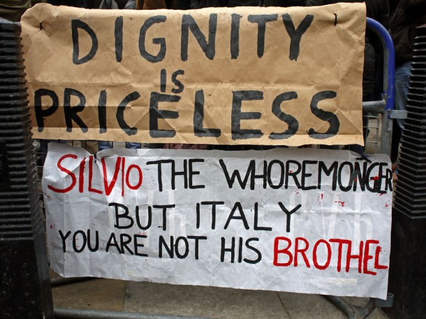 Berlusconi Protest Signs Photo: Alan Denney on Flickr