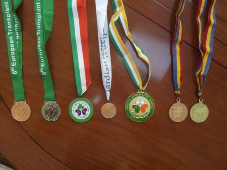 A selection of the medals Anne has won from competitions around the world