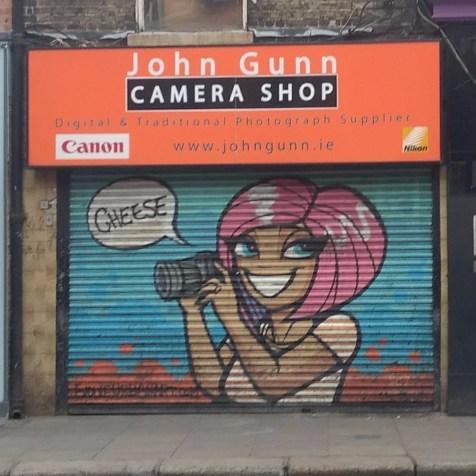 Art on the shutters of John Gunn Camera Shop on Wexford Street, image by Hannah Lemass