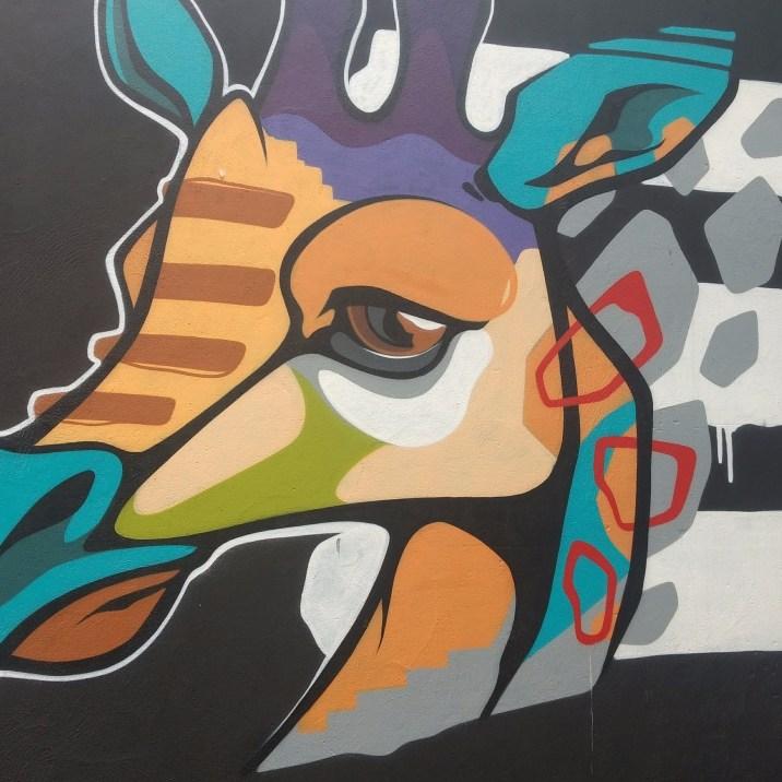 Graffiti Giraffe in the Tivoli theater carpark, image by Hannah Lemass