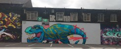 Graffiti dinosaur in the Tivoli theater carpark, image by Hannah Lemass