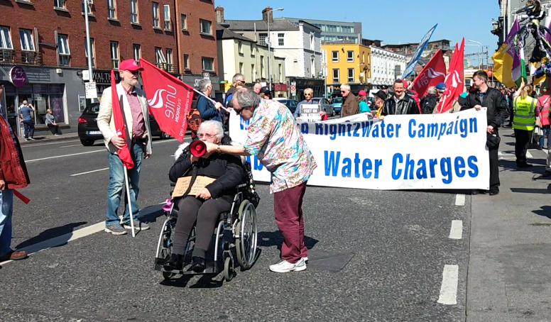 Demonstrators prepare to move off from Connoly Station, image by Hannah Lemass